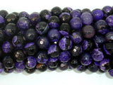 Agate Beads, Purple & Black, 8mm Faceted-BeadBeyond