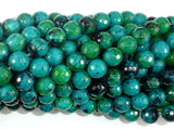 Chrysocolla, 8mm (7.8mm) Faceted Round Beads-BeadBeyond