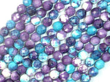 Rain Flower Stone Beads, Blue, Purple, 6mm Faceted Round-BeadBeyond