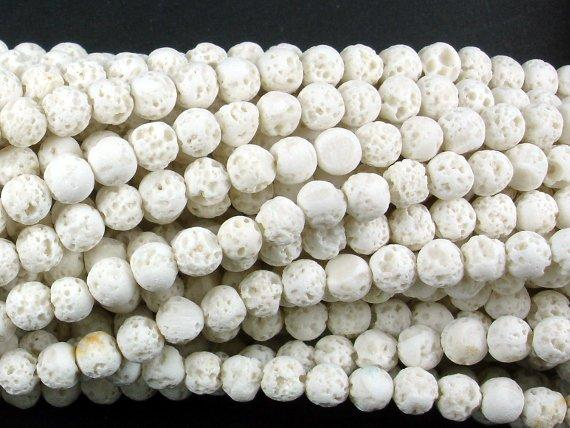 White Lava Beads, 4mm (4.5mm) Round Beads-BeadBeyond
