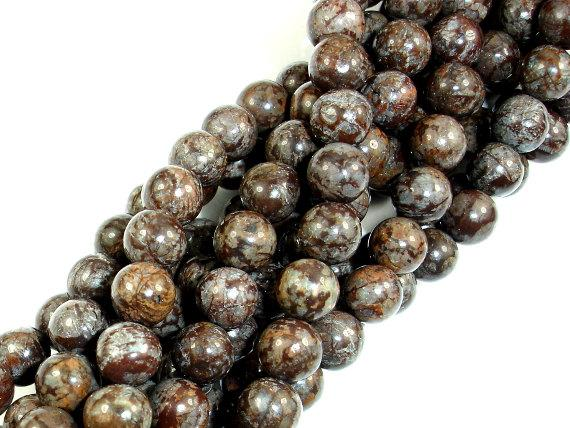 Brown Snowflake Obsidian Beads, Round, 6mm (6.5 mm)-BeadBeyond