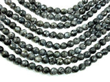 Black Labradorite, Larvikite, 8mm Faceted Round Beads, 15 Inch-BeadBeyond