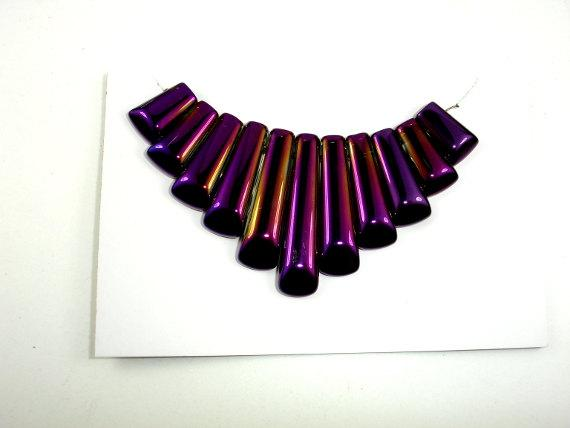Quartz Beads, Coated Purple, Top Drilled Graduated Stick-BeadBeyond