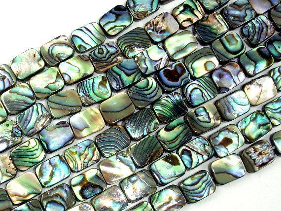 Abalone Beads, Rectangle, 8mm x 10mm, 15.5 inch-BeadBeyond