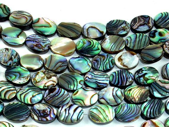 Abalone Beads, Oval, 8mm x 10mm, 16 inch-BeadBeyond
