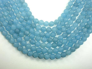 Matte Blue Dyed Jade Beads, Faceted Round, 10mm-BeadBeyond