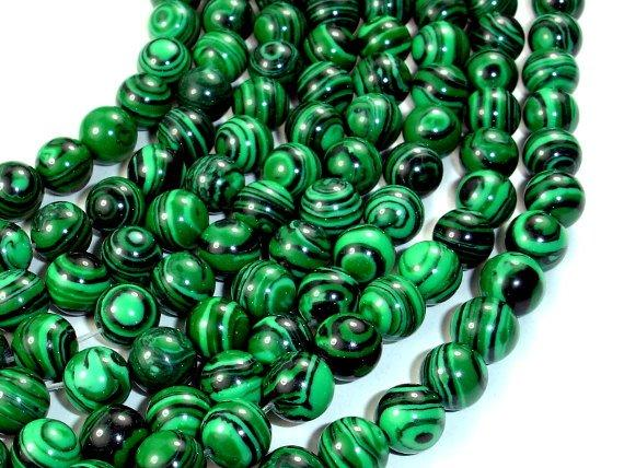 Malachite Beads - Synthetic, Round, 8mm-BeadBeyond