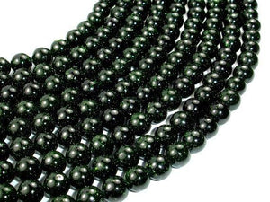 Green Goldstone Beads, 8mm Round Beads-BeadBeyond