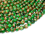 Mosaic Stone Beads, Round, Green, 8mm-BeadBeyond