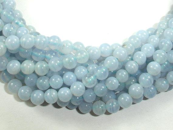 Blue Chalcedony Beads, Blue Lace Agate Beads, Round, 4mm-BeadBeyond