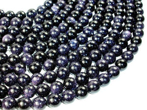Blue Goldstone, Round, 12mm beads-BeadBeyond