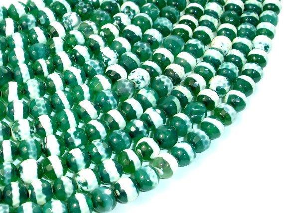 Tibetan Agate Beads, Faceted Round, 6mm-BeadBeyond