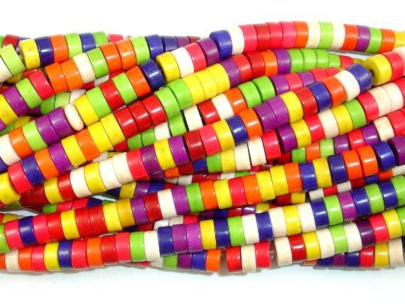 Howlite Beads, Multicolored, Heishi, 3 x 6mm-BeadBeyond