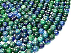 Azurite Malachite Beads, Round, 10mm, 15.5 Inch-BeadBeyond