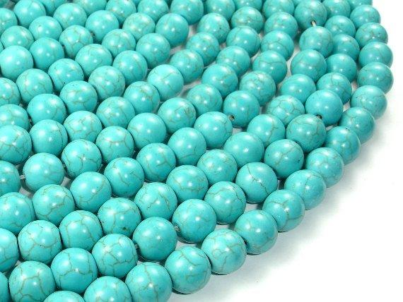 Howlite Turquoise Beads, Round, 10mm-BeadBeyond