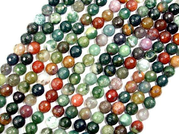 Indian Agate Beads, Fancy Jasper Beads, Faceted Round, 8mm-BeadBeyond