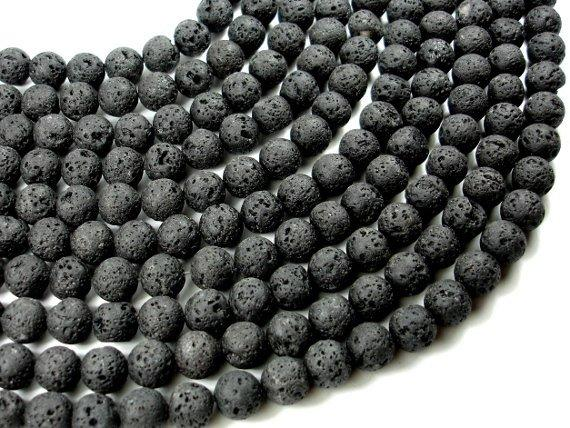 Black Lava Beads, Round, 10mm (10.3 mm)-BeadBeyond