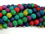 Lava Beads, Multicolored, Round, 8mm-BeadBeyond