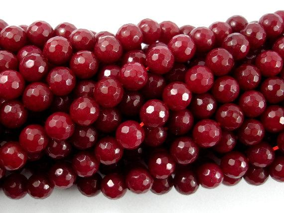 Ruby Jade Beads, Faceted Round, 8mm-BeadBeyond