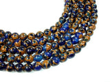 Mosaic Stone Beads, Blue, 8mm Round Beads-BeadBeyond