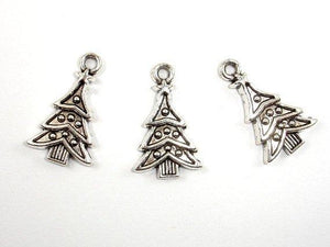 Christmas Tree Charms, Zinc Alloy, Antique Silver Tone 10pcs-BeadBeyond