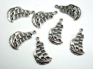 Sail Boat Charms, Zinc Alloy, Antique Silver Tone, 12x22mm 20pcs-BeadBeyond