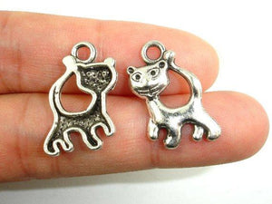 Kitty Charms, Zinc Alloy, Antique Silver Tone 15pcs-BeadBeyond