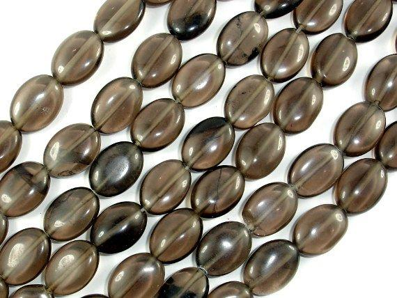 Smoky Glass Beads, 10x14mm Oval Beads, 16 Inch, Full strand