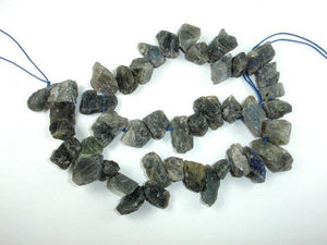 Labradorite Beads, raw rough, (10-13)x(12-20)mm Top Drilled Nugget Beads, 16 Inch