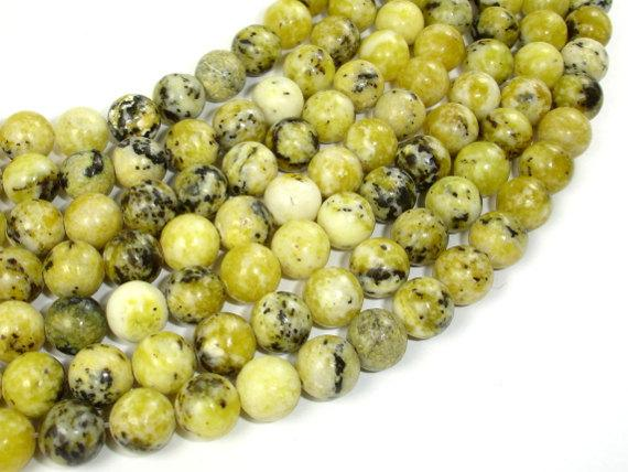 Yellow Turquoise Beads, 8 mm (8.5 mm) Round Beads-BeadBeyond