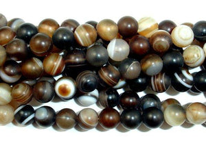 Matte Banded Agate Beads, 6mm Round Beads-BeadBeyond