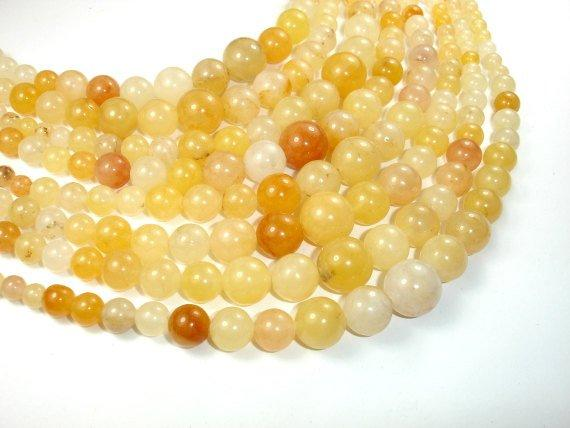 Yellow Jade Beads, 6mm - 14mm Graduated Round Beads, 18 Inch-BeadBeyond