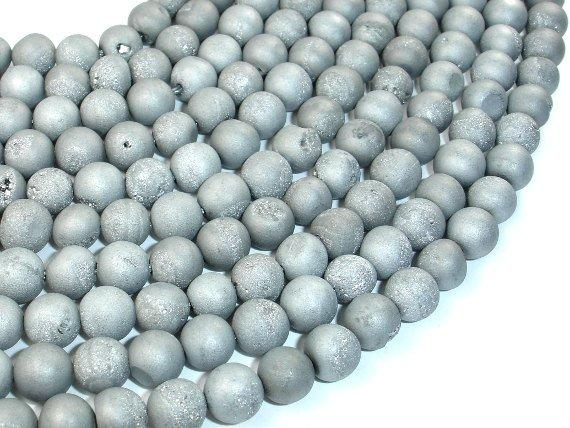 Druzy Agate Beads, Silver Gray Geode Beads, Approx 8 mm(8.5 mm) Round Beads, 15 Inch