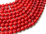 Red Bamboo Coral Beads, 8mm Round Beads-BeadBeyond