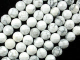 White Howlite, 10 mm Faceted Round Beads-BeadBeyond