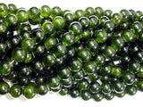 Dyed Jade- Dark Olive Green, 8mm Round Beads-BeadBeyond