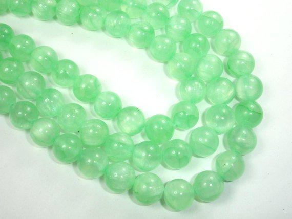 Dyed Jade, Light Green, 10mm Round Bead-BeadBeyond
