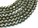 Pyrite Beads, Faceted Round, 10 mm, 15.5 Inch