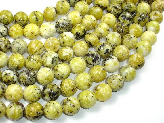 Yellow Turquoise Beads, 12mm Round Beads, 14.5 Inch-BeadBeyond