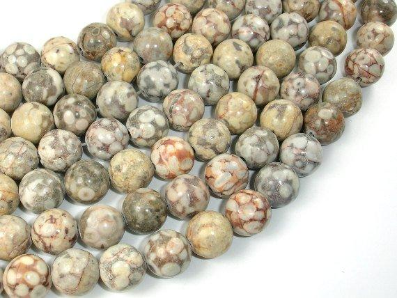 Fossil Jasper Beads, 12mm, round-BeadBeyond
