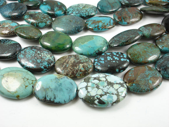 Genuine Turquoise, Oval Beads, 8 Inch, Half strand-BeadBeyond