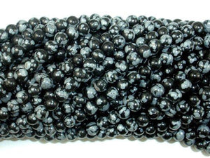 Snowflake Obsidian Beads, 4mm (4.6 mm) Round Beads-BeadBeyond