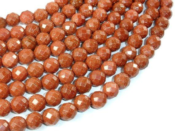 Goldstone Beads, 10mm Faceted Round Beads-BeadBeyond