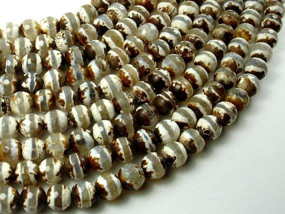 Tibetan Agate Beads, 8mm Faceted Round Beads, 14 Inch-BeadBeyond