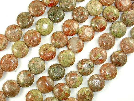 Chinese Unakite Beads, 12mm Coin Beads, 15.5 Inch, Full strand