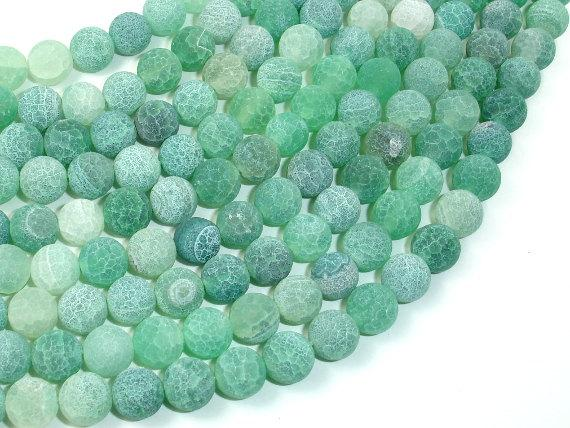 Frosted Matte Agate - Green, 8mm Round Beads, 15 Inch, Full strand-BeadBeyond