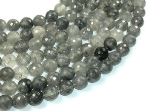 Gray Quartz Beads, 10mm Faceted Round Beads-BeadBeyond