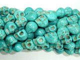 Turquoise Howlite Beads, 8 x 10mm Skull Beads-BeadBeyond