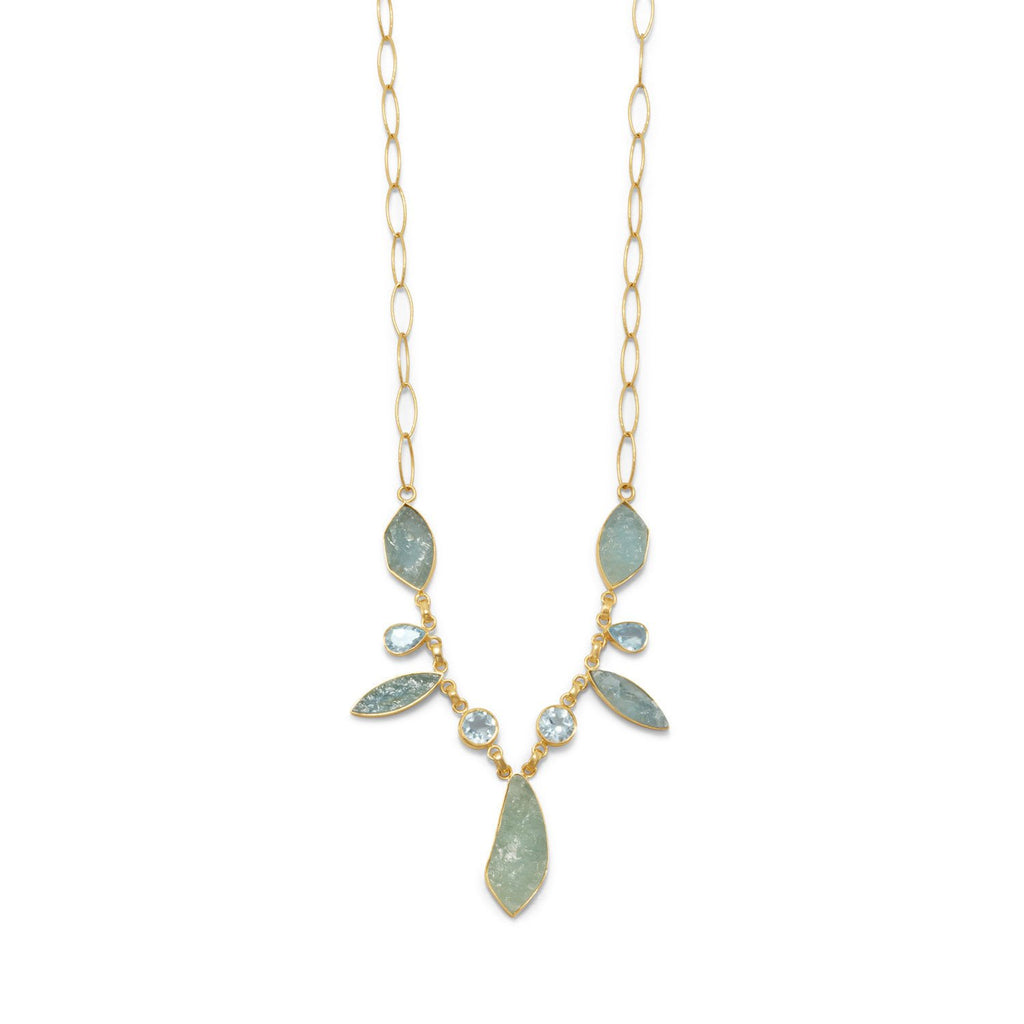 Gold Plated Aquamarine Blue Topaz Necklace