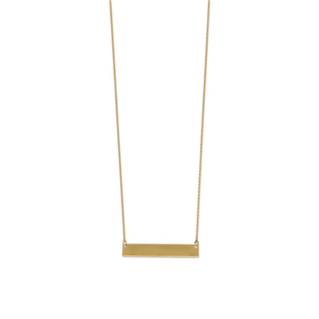 Gold Plated Engravable Bar Necklace